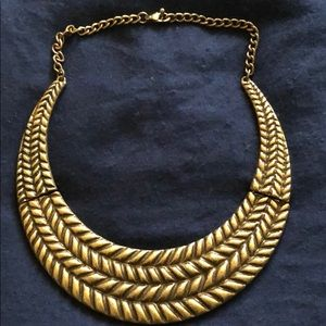 Tarnished gold necklace antique look choker look